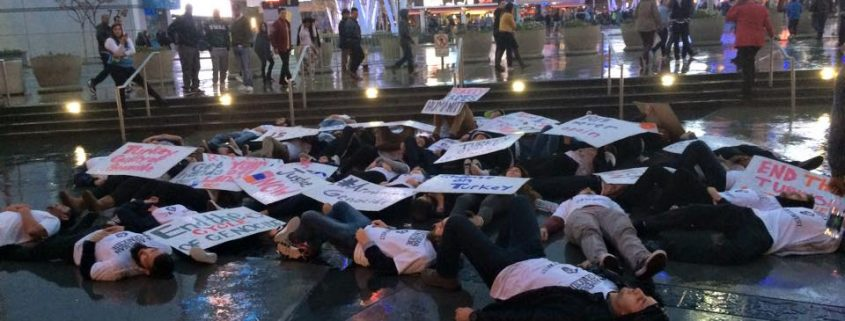 """AYF members stage a """"die-in"""" in front of Staples Center - Armenian"""