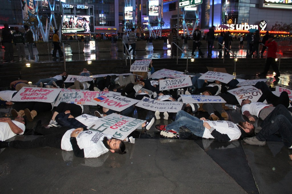 AYF Western United States Members organizing a sudden die in at Staples Center in Los Angeles